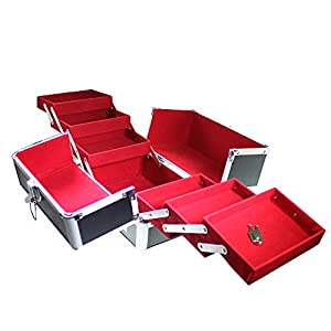 Large Black Beauty Make Up Vanity Jewellery Box Case With 6 Folding Compartments by Kurtzy TM