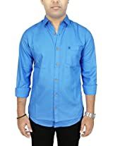AA' Southbay Men's Blue 100% Cotton Oxford Long Sleeve Solid Casual Party Shirt