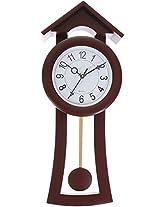 Smile2uretailers Plastic Pendulum Wall Clock (20 cm x 9 cm x 52 cm, Maroon)
