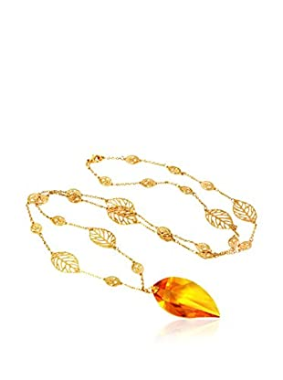 Shiny Cristal Collar metal bañado en oro 24 ct