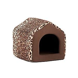 "Best Friends by Sheri 2-in-1 Pet House-Sofa in Zoo, Leopard Brown, Small, 15""x13""x13"""
