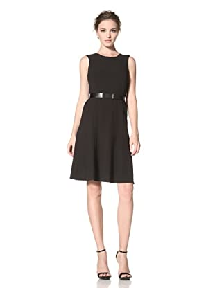 Calvin Klein Women's Crepe Fit and Flare Dress (Jet Black)