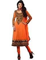 Reya Womens Georgette Salwar Unstitched Dress Material (Mforange _Orange)