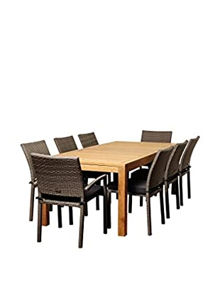 Amazonia Teak Buffalo 9-Piece Wicker Rectangular Dining Set with Cushions, Brown/Grey