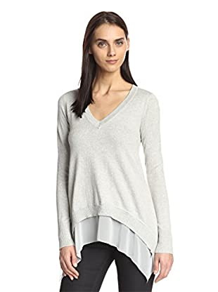 Central Park West Women's V-Neck Double Layer Sweater