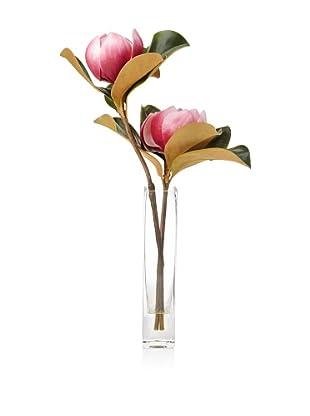 Winward Faux Magnolia in Rectangle Vase, Fuchsia