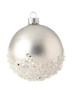 Raz White Iced Ball Ornament