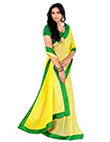 Riti Riwaz Lemon Yellow Saree with Unstitched Blouse RBL112