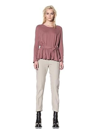 Ann Demeulemeester Women's Belted Long Sleeve Top (Brick)