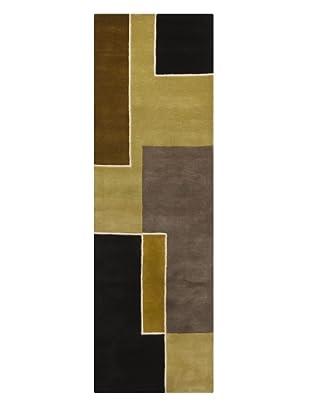 Chandra Bense Garza Rug, Olive/Black/Brown, 2' 6