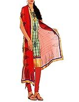 Unnati Silks Women Pure Meghalaya Sico White and Red salwar kameez dress material