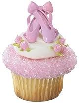 Ballerina Ballet Pink Cupcake Topper Rings - Set of 12