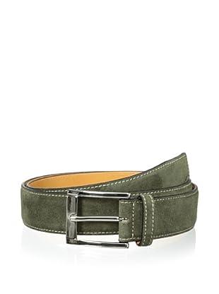 Leone Braconi Men's Velour Z Suede Belt (Green)