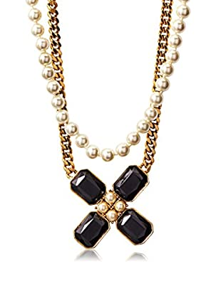 Yochi Double-Strand Flower & Pearl Necklace