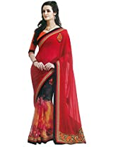 Faux Georgette Saree in Yellow Colour for Party Wear
