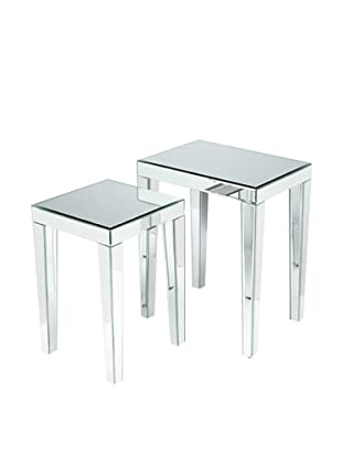 Set Of 2 Beveled Mirror Nesting Tables