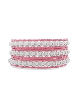 Lucie & Jade Echtleder-Armband Imitationsperlen rosa/weiß