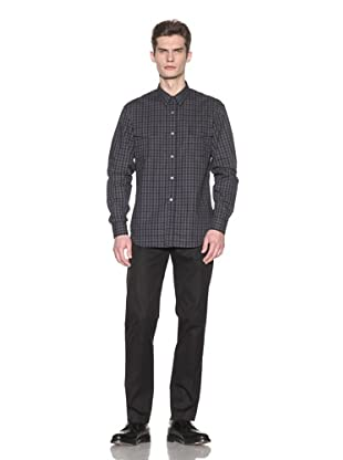 French Connection Men's Waffle Check Shirt (Darkest Blue)