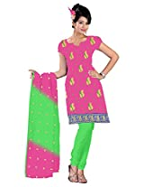 vardhman Pink Chanderi Straight Dupata Work Dressmaterial Suit.