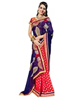 Manvaa Multi-Color Embroidered Casual Wear Chiffon Saree With Blouse Piece