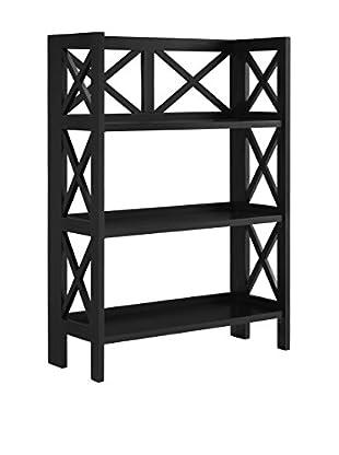 Linon Home Décor 3-Shelf Folding Bookcase, Black