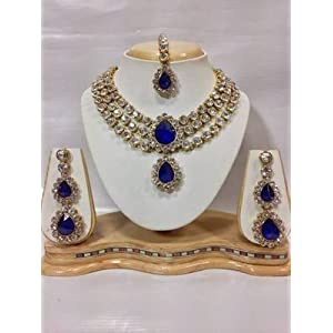 Necklace sets - Three Chain Crystal Necklace Set in Royal Blue Color
