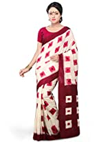 Utsav Fashion Women's Off White and Maroon Pure Ikat Cotton Handloom Saree with Blouse