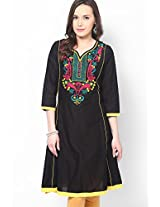 Cotton Blend Black Kurti