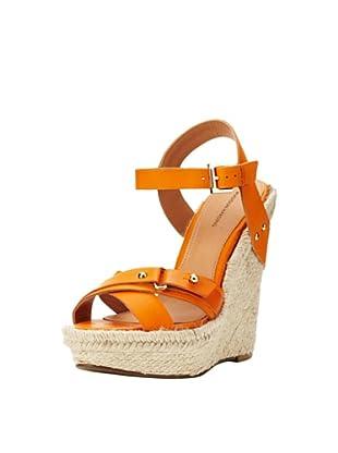 Madison Harding Women's Riley Wedge Espadrille Sandal (Tangerine)