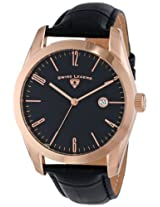 Swiss Legend Men's 22044-RG-01 Pennisula Black Dial Black Leather Band Watch