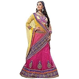 Styles Closet Round Lehenga Choli - Pink & Light Yellow