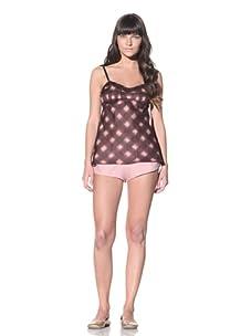 MARNI Women's Pintucked Camisole (Wineberry/Beige)
