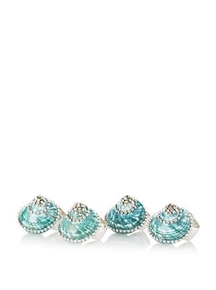 Isabella Adams Set of 4 Turbo Shell Napkin Rings with Swarovski Crystals, Green