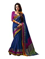 Fantastic Blue with Pink & Yellow Coloured Casual Cotton Saree