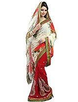 Chandra Silk Mills Magnificient Red roses White Floral Print Half-Half Wedding Party Wear Saree
