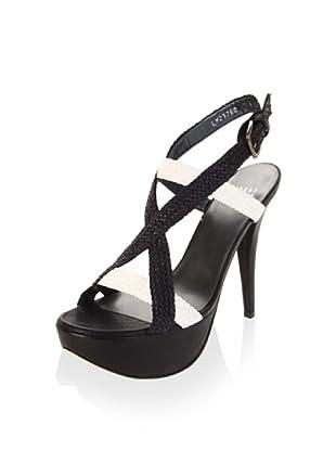 Stuart Weitzman Women's Camino Platform Sandal (Black Laniard)