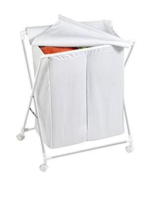 Honey-Can-Do Rolling Laundry Sorter with Removable Bags, White, Double