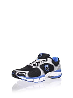 K-Swiss Men's California Running Shoe (Black/Silver/Brilliant Blue)