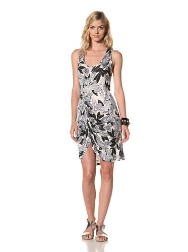 Thakoon Carbon Copy Women's Orchid Print Draped Dress (Black/White)