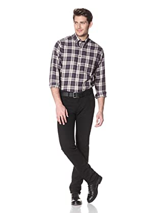 Viyella Men's Long Sleeve Plaid Shirt with Button-Down Collar (Brown)