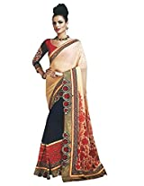 Faux Georgette Beige & Blue Colour Saree for Party Wear