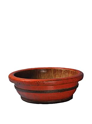 Antique Revival Wooden Oval-Shaped Basin, Red