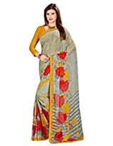 yomeeto Chiffon Fabric Yellow Coloured Printed Saree
