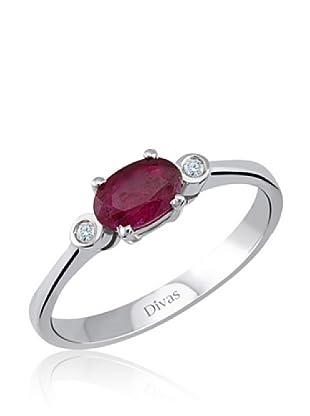 Divas Diamond Anillo Diamante Rubí (Plata)