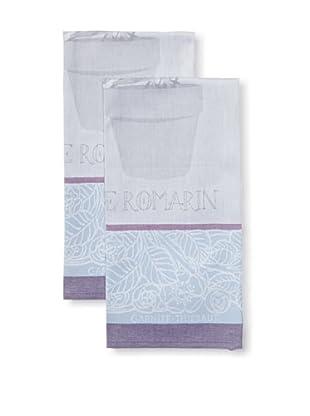 Garnier-Thiebaut Set of 2 Romarin Kitchen Towels, Indigo