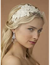 Handmade Ivory European Lace Applique Wedding Bridal Headband with Petite Veil