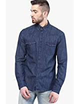 Blue Solid Casual Shirt Selected