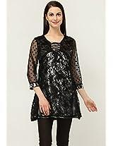 3/4Th Sleeve Printed Black Kurti