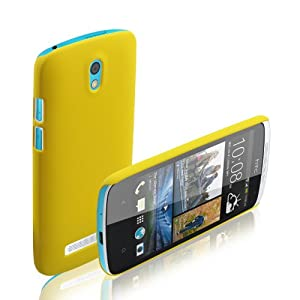 cubix Ultra Thin Rubberized Matte Hard Case Back Cover for HTC Desire 500 (Yellow)