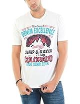 BARE DENIM Men's Cotton T-shirt (305000000811411_Off-White_Small)
